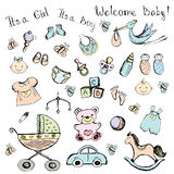 Set newborn baby items Stock Photography