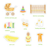 Newborn baby stickers. Set of newborn baby stuff stickers in doodles style, isolated on white background, vector Royalty Free Stock Images