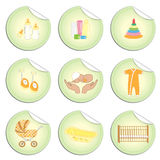 Newborn baby stickers 2. Set of newborn baby stuff stickers in doodles style, isolated on white background, vector Stock Image