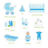 Newborn boy stickers. Set of newborn boy stuff stickers in doodles style, isolated on white background, vector Stock Photo