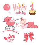 A set of newborn (for girl). Vector illustration - a set of objects for a newborn baby (girl stock illustration