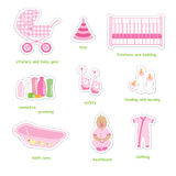 Newborn girl stickers. Set of newborn girl stuff stickers in doodles style, isolated on white background, vector Royalty Free Stock Photos