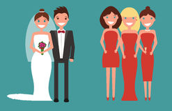 The set of newlywed couple and bridesmaids. Cheerful bride and fiance standing, embracing and holding. Happy group of bridesmaids. Vector. Flat style Stock Photography