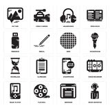 Set of News reporter, Browser, Music player, Smartphone, Hourglass, Grid, Pendrive, Headphones, Picture icons. Set Of 16 simple  icons such as News reporter Royalty Free Stock Photo