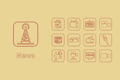 Set of news simple icons Royalty Free Stock Photos