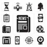 Set of Newspaper, Webcam, Earth grid, Smartphone, Browser, Film reel, Telephone, Clipboard icons. Set Of 13 simple  icons such as Newspaper, Webcam, Earth grid Royalty Free Stock Photography