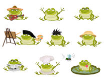 Set of Nice cartoon vector toads Royalty Free Stock Photo