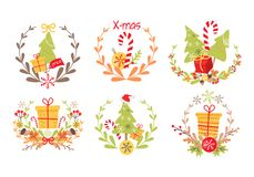 Set of Nice Christmas Badges on White Background. Vector illustration of holiday decor elements autumn leaves, red guelder roses and small acorn. Wreath Stock Image