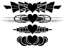 Set of nice decorated hearts tattoos in black Stock Images