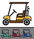 Set of nice golf cart with clubs