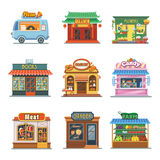 Set of nice showcases shops. Pizza, bakery, candy Stock Images