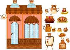 Set niedźwiadkowa kawiarnia ilustracji