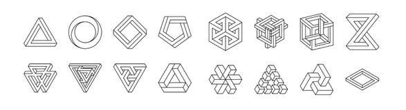 Set niemożliwi kształty złudzenie optyczne Wektorowa ilustracja odizolowywająca na bielu geometria święta Czerń wykłada na a ilustracji