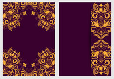 Set of nifty template for design invitations and greeting cards. Ornate elegant pattern gold on purple in Damascus style. Stock Photo