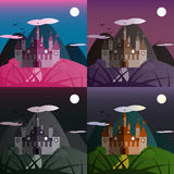 Set of night castle landscapes. Nice and simple illustration Royalty Free Stock Images