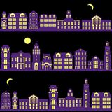 Set of night city landscapes Royalty Free Stock Image