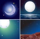 Set of night moon scenes. Illustration vector illustration