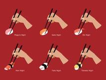 Set of Nigiri sushi grabbed  by chopsticks Stock Image