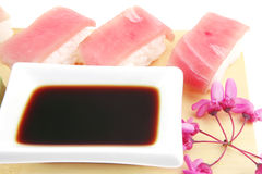 Set of Nigiri sushi topped with raw Tuna (maguro) Royalty Free Stock Photo