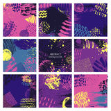 Set of nine abstract backgrounds with hand drawn ink texture. Royalty Free Stock Image