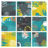 Set of nine abstract backgrounds with hand drawn ink texture. Stock Photography