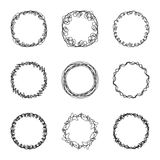 Set of nine abstract chaotic round frame brush sketch Royalty Free Stock Image
