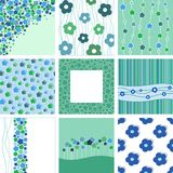 Set of nine abstract floral backgrounds. Blue and green hues. Vector illustration stock illustration