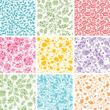 Set Of Nine Abstract Floral Seamless Patterns Stock Photography