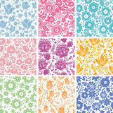 Set Of Nine Abstract Flowers Seamless Patterns Royalty Free Stock Image