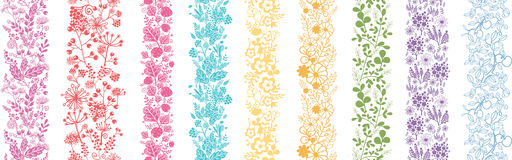 Set Of Nine Abstract Flowers Vertical Seamless. Patterns Ornament Backgrounds Stock Photos