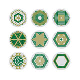 Set of nine abstract hexagon shaped  symbols. Royalty Free Stock Photography