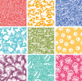 Set of nine animal vector seamless patterns Stock Images