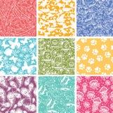Set of nine animal vector seamless patterns royalty free illustration