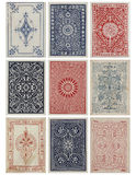 Set of nine antique vintage playing card backs. Stock Photo