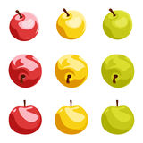 Set of nine apples. illustration. Royalty Free Stock Images