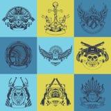 Set of nine art drawn label Stock Images