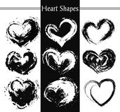 Set of nine artistic hearts. Stock Photo