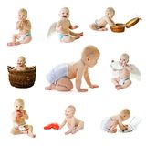 Set from nine baby photos Royalty Free Stock Photos