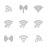 Set of nine black outline wifi icons. Isolated on white background. modern vector illustration Royalty Free Stock Photos