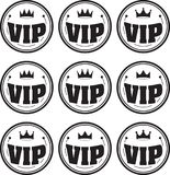 Set of nine black round VIP  icons with different crowns. Stock Photography