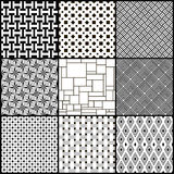 Set of nine black and white geometric seamless patterns Royalty Free Stock Images