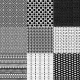 Set of nine black and white geometrical patterns Stock Photography