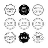 Set of nine black and white retro badges Stock Photo