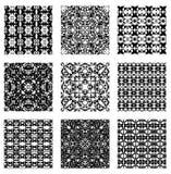A set of nine black white seamless tiles Royalty Free Stock Photo