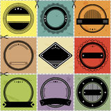 Set of nine blanc labels with retro styled design Stock Photos