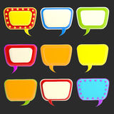Set of nine blank colorful glossy text bubbles Stock Photos