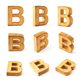 Set of nine block wooden letters isolated Royalty Free Stock Photography