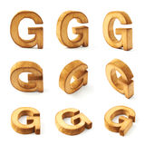 Set of nine block wooden letters isolated Royalty Free Stock Image