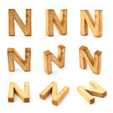 Set of nine block wooden letters isolated Stock Image