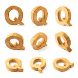 Set of nine block wooden letters isolated Royalty Free Stock Images